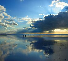 Freshwater West - Two People In Light & Space by Mark Haynes Photography