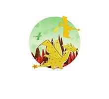 Cute Orange Cartoon Dragon Fantasy Landscape Photographic Print