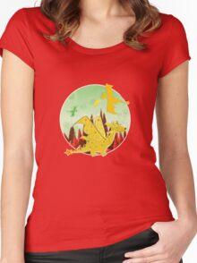 Cute Orange Cartoon Dragon Fantasy Landscape Women's Fitted Scoop T-Shirt