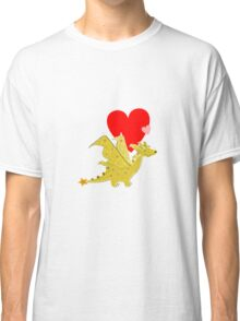 Cute Orange Cartoon Dragon with Love Heart Classic T-Shirt