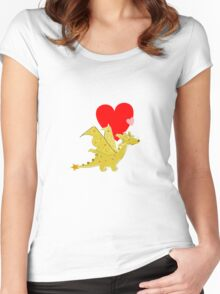 Cute Orange Cartoon Dragon with Love Heart Women's Fitted Scoop T-Shirt