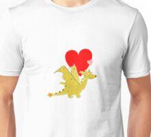 Cute Orange Cartoon Dragon with Love Heart Unisex T-Shirt