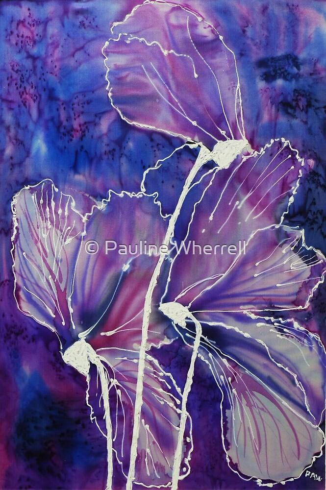 Cyclamen on silk by © Pauline Wherrell