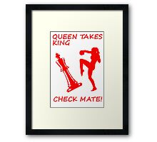 Queen Takes King Check Mate Female Kickboxer Punch and Knee Red  Framed Print