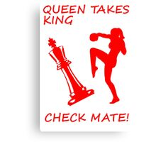 Queen Takes King Check Mate Female Kickboxer Punch and Knee Red  Canvas Print