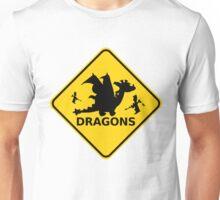 Funny Beware of Dragons Warning Sign Unisex T-Shirt