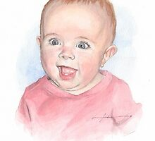 happy baby girl watercolor by Mike Theuer