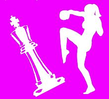 Queen Takes King Check Mate Female Kickboxer Punch and Knee White  by yin888
