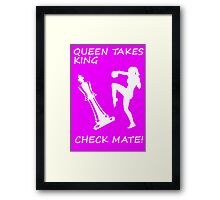 Queen Takes King Check Mate Female Kickboxer Punch and Knee White  Framed Print