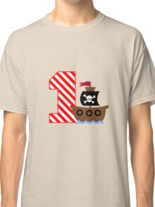 Customizable pirate first birthday geek funny nerd Classic T-Shirt