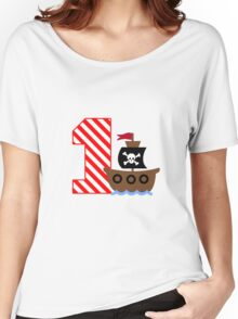 Customizable pirate first birthday geek funny nerd Women's Relaxed Fit T-Shirt