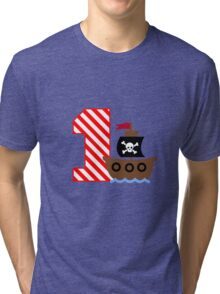 Customizable pirate first birthday geek funny nerd Tri-blend T-Shirt
