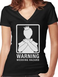 Warning: Wedding Hazard Women's Fitted V-Neck T-Shirt