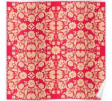 Modern Pink and Cream Floral Damask Pattern Poster