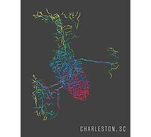 Charleston, SC - Rainbow City Map Photographic Print