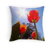 Red Tulips Canberra Throw Pillow