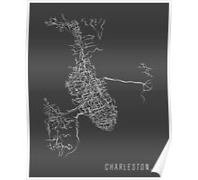 Charleston, SC - Black and White City Map Poster