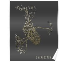 Charleston, SC - Gold City Map Poster