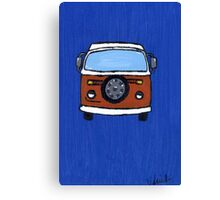 Orange & White VW camper  Canvas Print