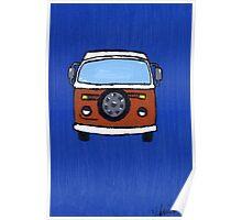 Orange & White VW camper  Poster