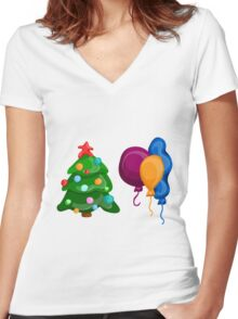Christmas icons Women's Fitted V-Neck T-Shirt