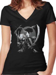 black 'n white samurai Women's Fitted V-Neck T-Shirt