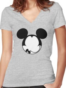 DISMAL MOUSE Women's Fitted V-Neck T-Shirt