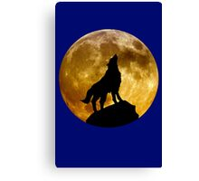 Wolf howling at moon geek funny nerd Canvas Print