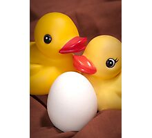 """""""EGGspecting"""" - rubber duckies couple expecting Photographic Print"""