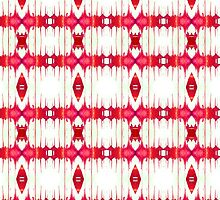 Red and White Watercolor Diamond Tribal Aztec by Blkstrawberry