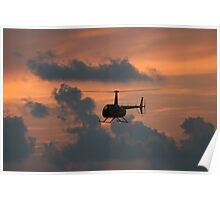 Helicopter at Sunset Poster