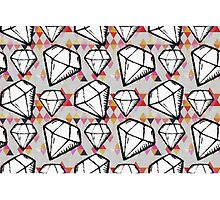 White Grunge Diamonds and Triangles by Betsy Bush