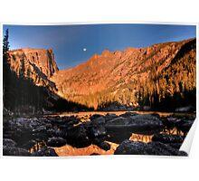 Moonset at Dream Lake Poster