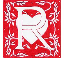 Red Heart Letter R Photographic Print