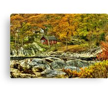 Little Red Cottage by the Ocean Canvas Print