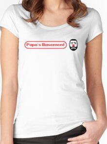 Papa's Basement Entertainment Podcast Women's Fitted Scoop T-Shirt