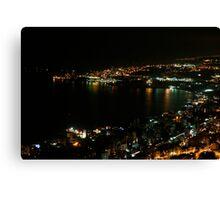 Nighttime coastline near Beirut, Lebanon Canvas Print