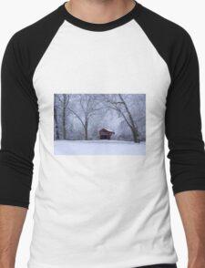 Snow Adorns The John Burrows Covered Bridge Men's Baseball ¾ T-Shirt