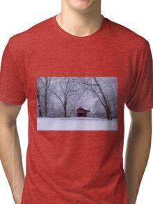 Snow Adorns The John Burrows Covered Bridge Tri-blend T-Shirt