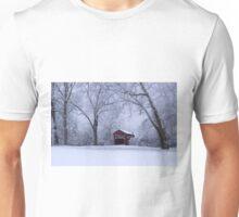 Snow Adorns The John Burrows Covered Bridge Unisex T-Shirt