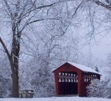 Snow Adorns The John Burrows Covered Bridge Sticker