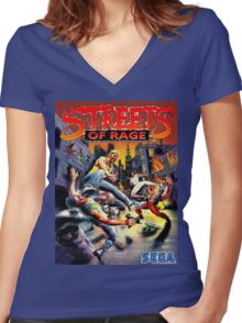 streets of rage 90s Women's Fitted V-Neck T-Shirt