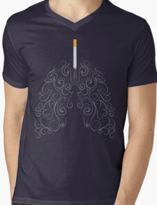 Two Lungs and One Smoking Cigarette Mens V-Neck T-Shirt
