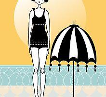 Sunny Beach Umbrella Gatsby Flapper Girl by CecelyBloom