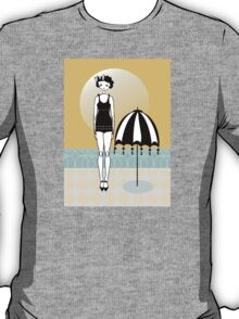 Sunny Beach Umbrella Gatsby Flapper Girl T-Shirt