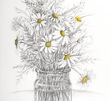A country hedge bouquet - daisies and grasses by lizblackdowding