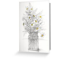 A country hedge bouquet - daisies and grasses Greeting Card