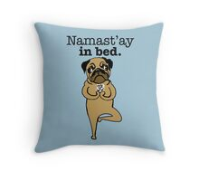 yoga pug Throw Pillow