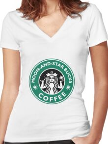 Moon-and-star bucks Women's Fitted V-Neck T-Shirt