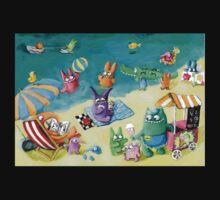 Monster Summer Time on the Beach Kids Tee